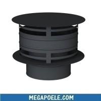 Chapeau antipluie avec protection vent - Conduit double paroi noir